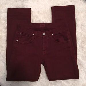 Hudson Maroon Straight Leg Jeans